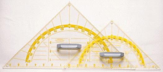 Geometrie-Zeichendreieck, Plexiglas, transparent,  60cm, magnethaftend