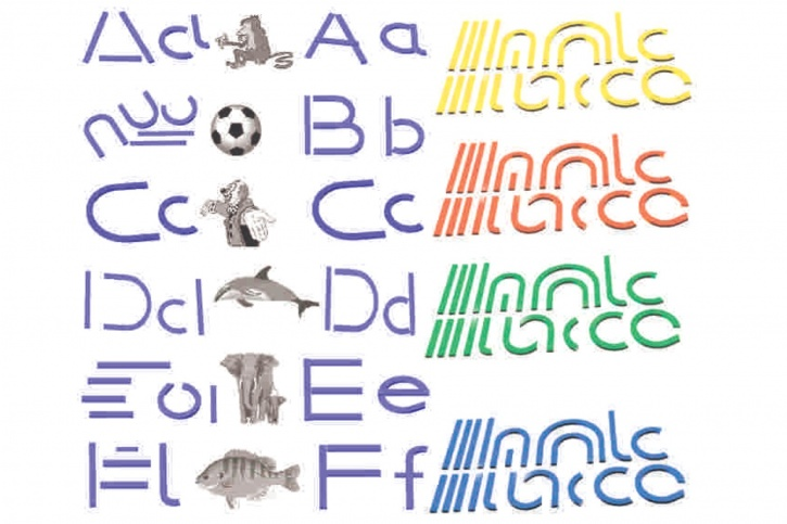 Buchstabenelemente zum Legen von Druckbuchstaben, blau