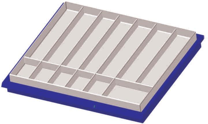 Einsatzpalette für SEG-Einschub, 7 große, 1 mittlere, 5 kleine Teilungen