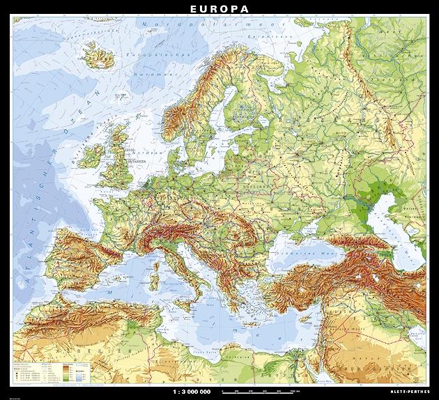 Wandkarte Europa, physisch