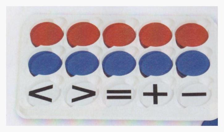 100 Wendeplättchen + 20 Rechenzeichen, magnet., rot/blau