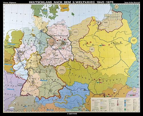 Wandkarte Staatengeschichte Deutschlands, Deutschland nach dem 2. Weltkrieg, 1945 – 1975