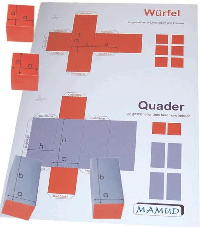 bastelbogen f r w rfel und quader auf din a4 bogen schnittlinien falzlinien und klebefl chen. Black Bedroom Furniture Sets. Home Design Ideas