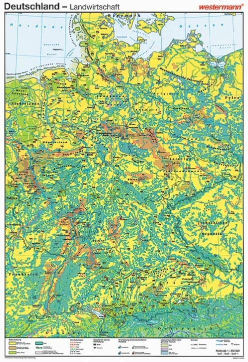 Wandkarte Deutschland, Landwirtschaft, 147x212 cm