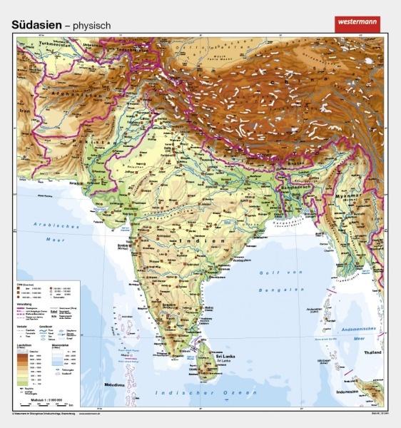 lehrmittel wandkarte westermann s dasien indien asien geografie 300441. Black Bedroom Furniture Sets. Home Design Ideas