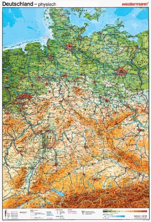 Wandkarte Deutschland, physisch, 147 x 202cm