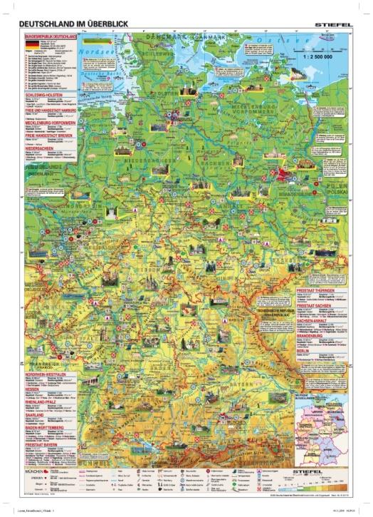 Wandkarte DUO Deutschland im Überblick / Geschichte und Gegenwar