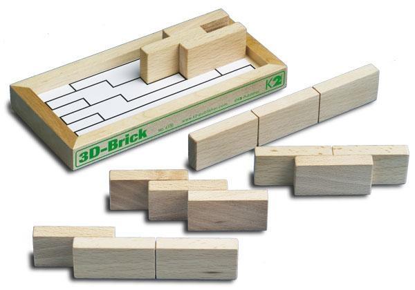 3D-Brick Set Holzsteine, 5 Teile in Holzkiste