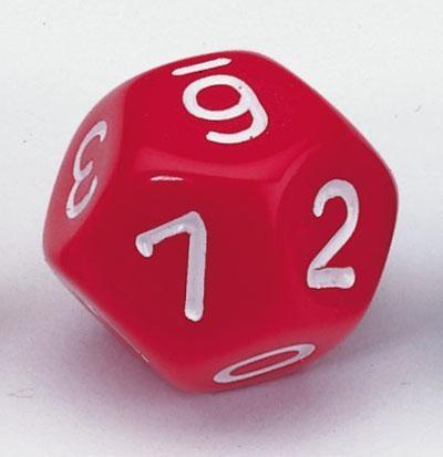 Zwölfflächige Schulwürfel 0-10 und Joker, rot