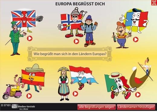 Interaktives Tafelbild: Europa begrüßt dich