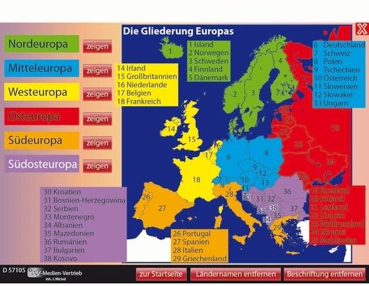 Interaktives Tafelbild: Die Länder Europas