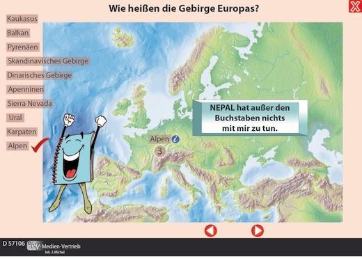 Interaktives Tafelbild: Topografie Europas