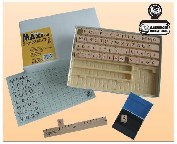 Druckerei Maxi III, Schulausgabe Bayernschrift, 59 Buchstabenstempel
