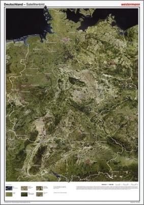 Posterkarte Geographie, Deutschland Satellitenbild