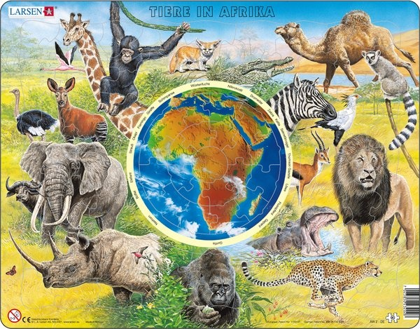 Puzzle - Tiere in Afrika, Format 36,5x28,5 cm, Teile 90