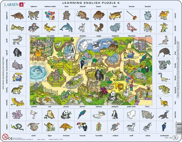 Puzzle - Learning English Puzzle 5, Format 36,5x28,5 cm, Teile 70