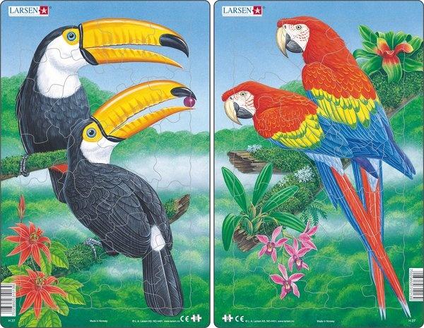 Puzzle - Exotische Vögel, Format 28,5x18,3 cm, Teile 30
