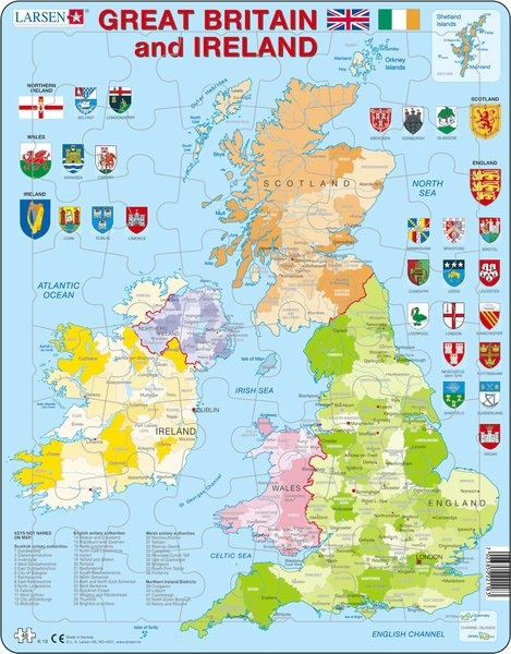 Puzzle - Great Britain and Ireland, englisch, Format 36,5x28,5 cm