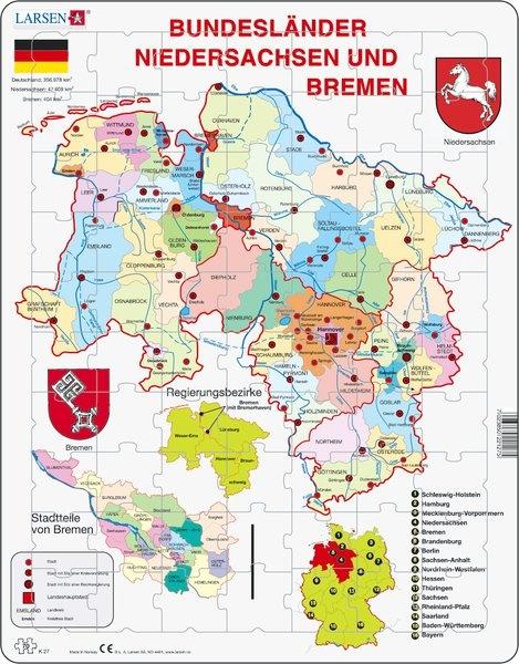Puzzle - Bremen und Niedersachsen, politisch