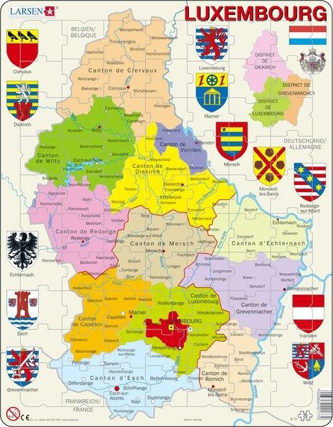 Puzzle - Luxembourg, französisch, politisch, Format 36,5x28,5 cm