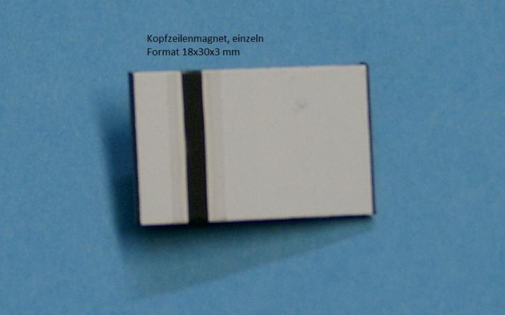 Kopfzeilenmagnet zur Kennzeichnung der Klasse 18x30mm, weiß mit schwarzem Streifen