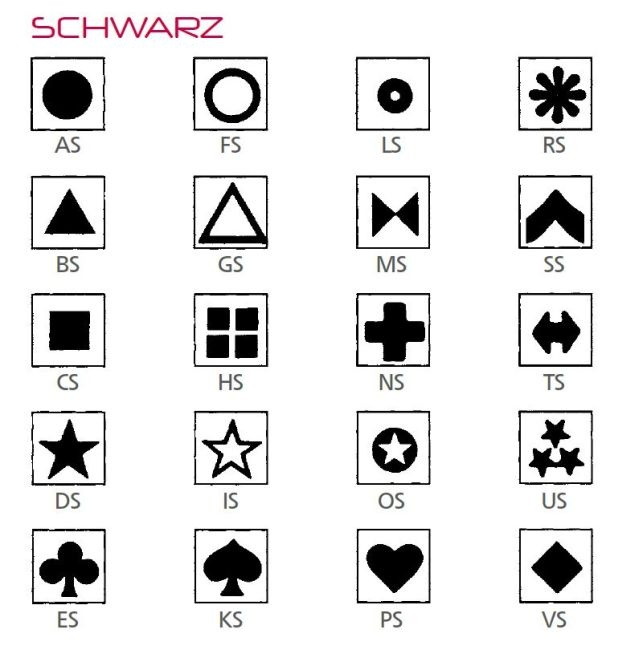 Symbolbogen für Kippmagnete, selbstklebend, 600 Symbole, schwarz