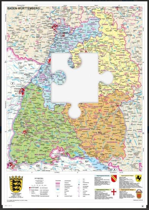Baden-Württemberg, politisch, magnetisches XXL-Puzzle
