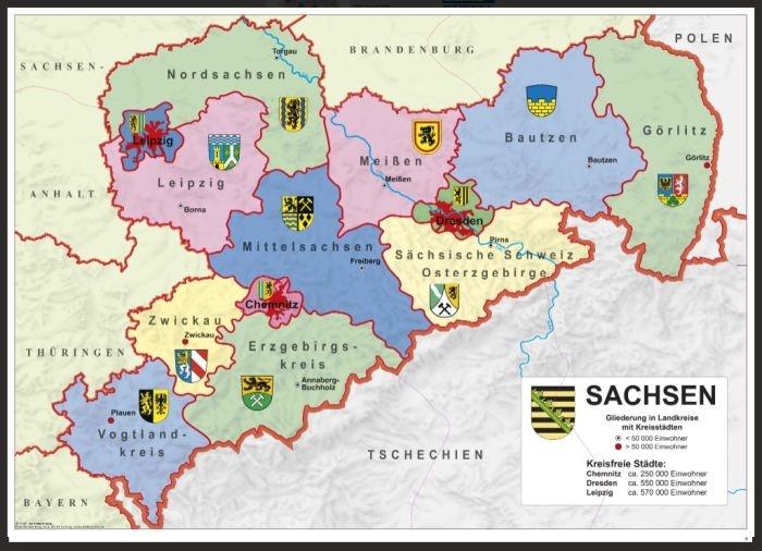 Sachsen, politisch, magnetisches XXL-Puzzle