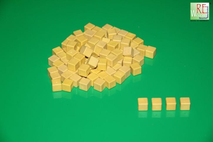 Farbige Dienes Einerwürfel 100 Stück aus RE-WOOD®, gelb