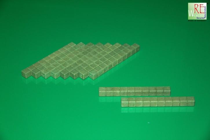 Farbige Dienes Zehnerstäbe, 10 Stück aus RE-WOOD®, grün