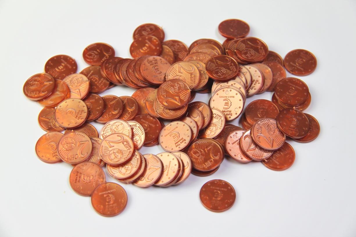 Lehrmittel Euro-Münzen 2 Euro-Cent Cent Rechengeld Originalgröße Wissner