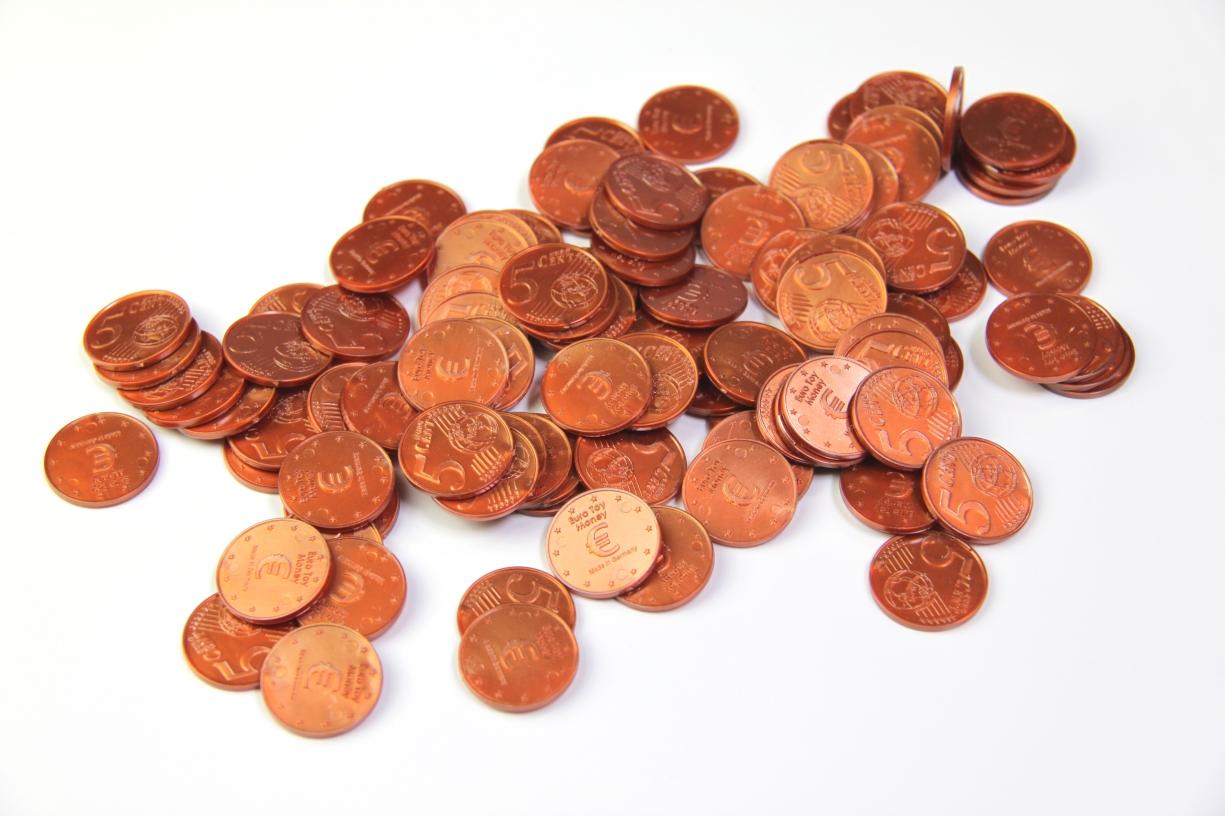Lehrmittel Euro Münzen 5 Euro Cent Cent Rechengeld Originalgröße Wissner