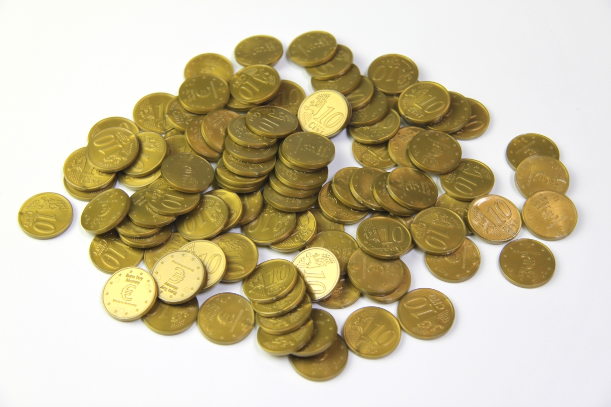 Lehrmittel Euro-Münzen 10 Euro-Cent Cent Rechengeld Originalgröße ...