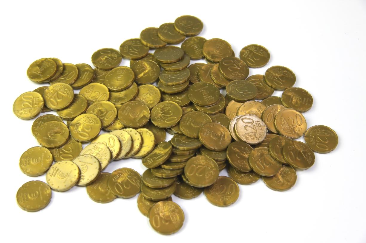 Lehrmittel Euro-Münzen 20 Euro-Cent Cent Rechengeld Originalgröße ...