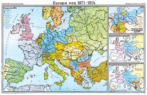 Karte Von Europa 1914.Wandkarte Europa Von 1871 Bis 1914 202x147 Cm
