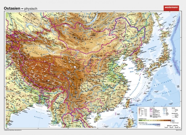 China Karte Physisch.Wandkarte Ostasien China Physisch Politisch 202x147cm