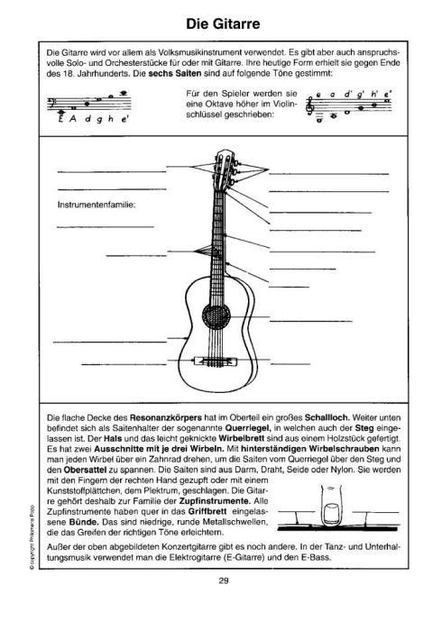 Lehrmittel Transparentmappe Musikinstrumente Instrumentenkunde ...