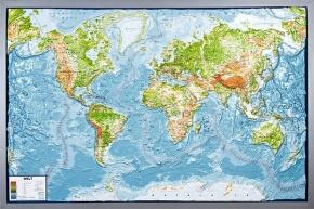 Reliefkarte Silverline, Welt, physisch, englisch, im Holzrahmen