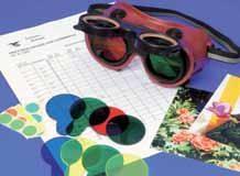 Farbbrille, mit 10 Farbgläsern