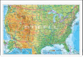 Wandkarte USA physisch (englische Ausgabe) 190 x 140 cm