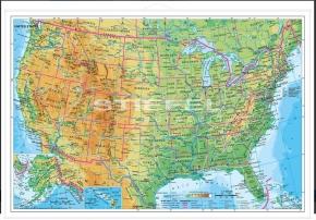 Wandkarte USA physisch (englische Ausgabe), 160 x 120 cm