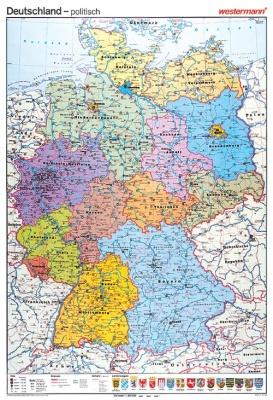 Wandkarte Deutschland, physisch/politisch, 105x141 cm
