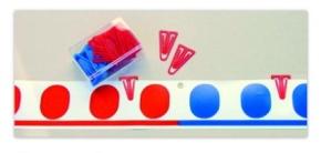 40 Markierungs-Klammern zur Darstellung von Rechenoperationen am Demo-Band, 60mm, je 20 rot und blau