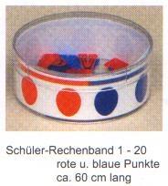 Schüler-Rechenband 1-20, einzeln, rote und blaue Punkte, 60cm la