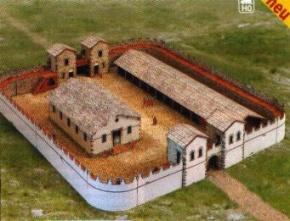 Kartonmodellbau, Römisches Kastell, Maße: (L 51 x B 44 x H 9cm),