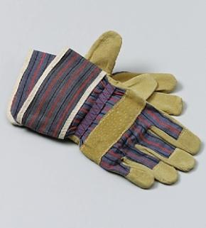 Paar Arbeitshandschuhe, Fünffinger-Handschuhe, Leder