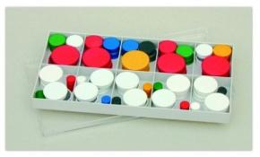 Haftmagnete -Sortiment- mit bunten Kunststoffkappen, 70 Magnete