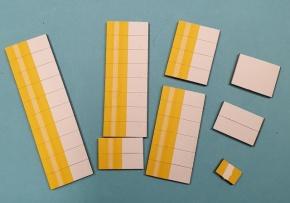 Satz Kippmagnete für Stundenplan, gelb mit Steifen / weiß