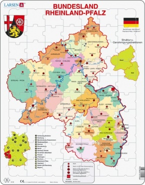 Puzzle - Rheinland-Pfalz, politisch, Format 36,5x28,5 cm, Teile