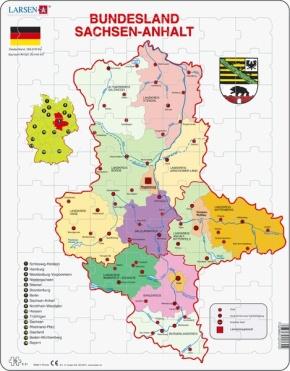 Puzzle - Sachsen-Anhalt, politisch, Format 36,5x28,5 cm, Teile 7